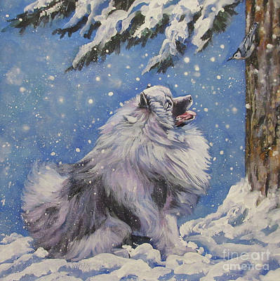 Painting - Keeshond In Wnter by Lee Ann Shepard