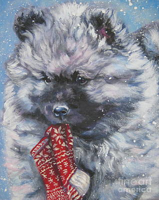 Painting - Keeshond Puppy With Christmas Stocking by Lee Ann Shepard