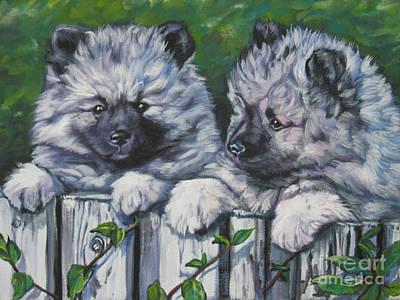 Painting - Keeshond Pups by Lee Ann Shepard
