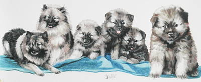 Mixed Media - Keeshone Puppies by Barbara Keith