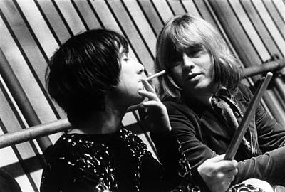 Print featuring the photograph Keith Moon Brian Jones 1968 by Chris Walter