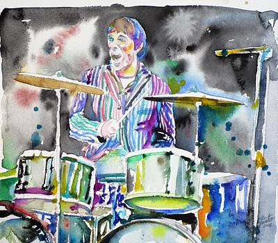Painting - Keith Moon - Watercolor Portrait.3 by Fabrizio Cassetta