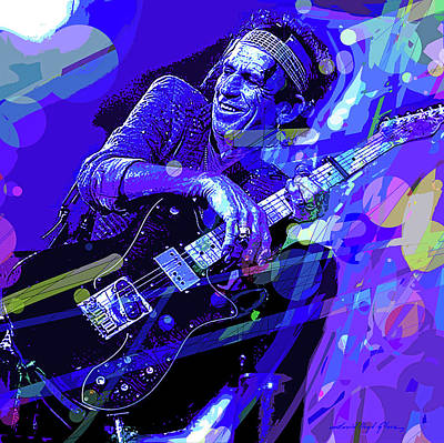 Music Paintings - Keith Richards Blue by David Lloyd Glover