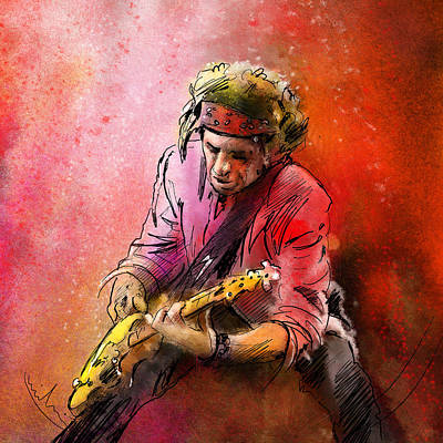 Music Paintings - Keith Richards by Miki De Goodaboom