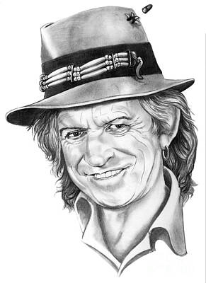 Rolling Stones Drawing - Keith Richards by Murphy Elliott