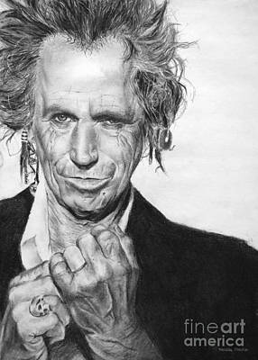 Blue And Gray Drawing - Keith Richards by Natalia Chaplin