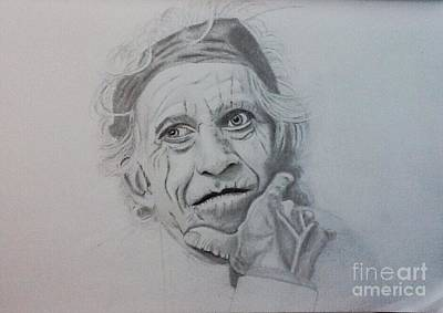 Drawing - Keith Richards Of The Rolling Stone by Robert Monk