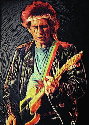 Music Digital Art - Keith Richards by Zapista Zapista