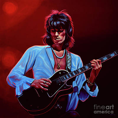 Rolling Stones Wall Art - Painting - Keith Richards The Riffmaster by Paul Meijering