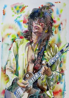 Painting - Keith Richards - Watercolor Portrait.5 by Fabrizio Cassetta