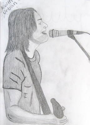 Mic Drawing - Keith Urban Without Quote by Rebecca Wood