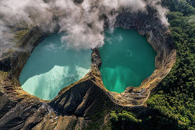 Photograph - Kelimutu Volcanic Crater From Above, Indonesia by Pradeep Raja PRINTS