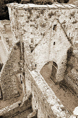 Photograph - Kells Irish Priory Medieval Ruins Arched Gateway Tower County Kilkenny Ireland Sepia by Shawn O'Brien