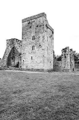 Photograph - Kells Irish Priory Restored Medieval Castle Tower House County Kilkenny Ireland Black And White by Shawn O'Brien