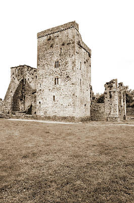 Photograph - Kells Irish Priory Restored Medieval Castle Tower House County Kilkenny Ireland Sepia by Shawn O'Brien