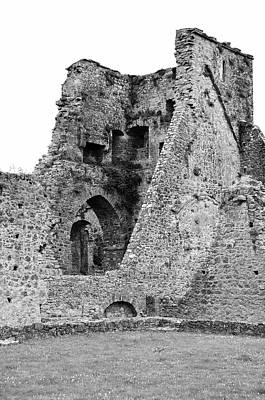 Photograph - Kells Priory Ireland Tower House Ruins County Kilkenny Black And White by Shawn O'Brien