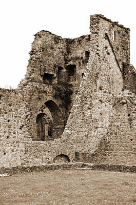 Photograph - Kells Priory Ireland Tower House Ruins County Kilkenny Sepia by Shawn O'Brien