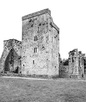 Photograph - Kells Priory Irish Medieval Castle Tower House County Kilkenny Ireland Black And White by Shawn O'Brien