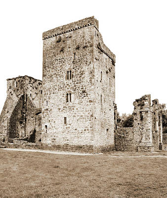Photograph - Kells Priory Irish Medieval Castle Tower House County Kilkenny Ireland Sepia by Shawn O'Brien