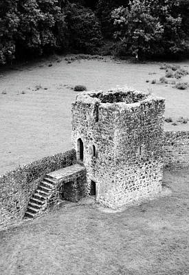 Photograph - Kells Priory Outer Wall Fortified Tower County Kilkenny Ireland Black And White by Shawn O'Brien