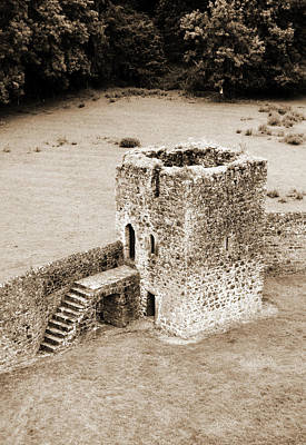 Photograph - Kells Priory Outer Wall Fortified Tower County Kilkenny Ireland Sepia by Shawn O'Brien