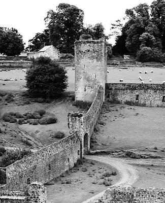Photograph - Kells Priory Outer Wall Gatehouse And Fortified Tower County Kilkenny Ireland Black And White by Shawn O'Brien