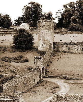 Photograph - Kells Priory Outer Wall Gatehouse And Fortified Tower County Kilkenny Ireland Sepia by Shawn O'Brien