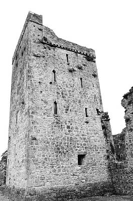 Photograph - Kells Priory Restored Medieval Irish Castle Tower House County Kilkenny Ireland Black And White by Shawn O'Brien