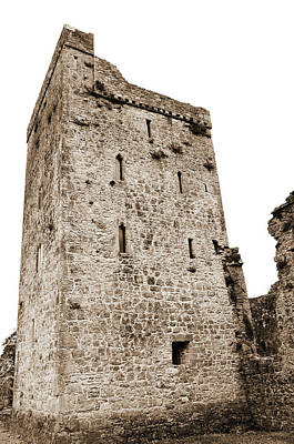 Photograph - Kells Priory Restored Medieval Irish Castle Tower House County Kilkenny Ireland Sepia by Shawn O'Brien