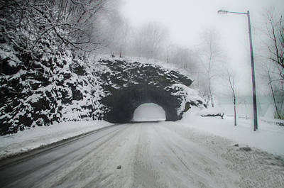 Kelly Drive Rock Tunnel In The Snow Art Print