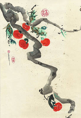 Japanese Brush Painting - Kelly's Persimmons by Casey Shannon