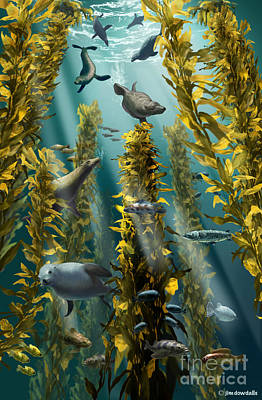 Kelp Forest With Seals Art Print