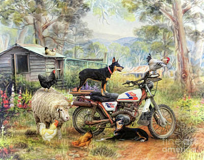 Cattle Dog Digital Art - Kelpie Karetakers by Trudi Simmonds