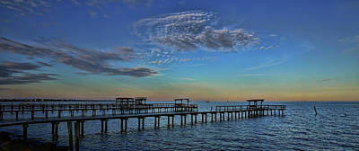 Photograph - Kemah Evening Pano by Judy Vincent
