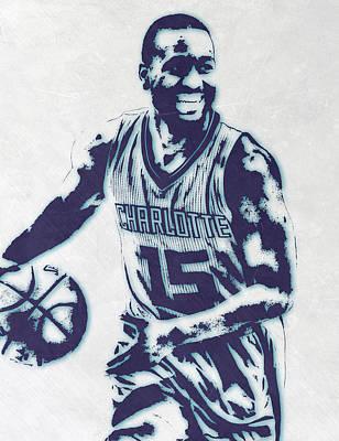 Hornet Wall Art - Mixed Media - Kemba Walker Charlotte Hornets Pixel Art 2 by Joe Hamilton
