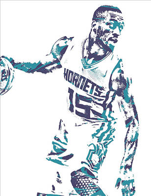 Hornet Wall Art - Mixed Media - Kemba Walker Charlotte Hornets Pixel Art 20 by Joe Hamilton