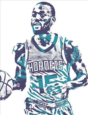 Hornet Wall Art - Mixed Media - Kemba Walker Charlotte Hornets Pixel Art 22 by Joe Hamilton