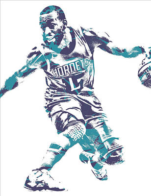 Hornet Wall Art - Mixed Media - Kemba Walker Charlotte Hornets Pixel Art 24 by Joe Hamilton