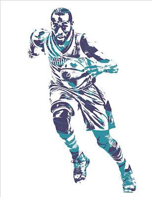 Hornet Wall Art - Mixed Media - Kemba Walker Charlotte Hornets Pixel Art 26 by Joe Hamilton