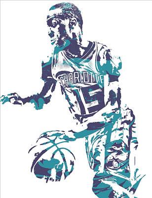 Hornet Wall Art - Mixed Media - Kemba Walker Charlotte Hornets Pixel Art 27 by Joe Hamilton