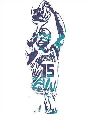 Hornet Wall Art - Mixed Media - Kemba Walker Charlotte Hornets Pixel Art 28 by Joe Hamilton