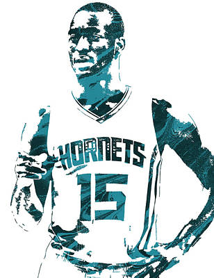 Hornet Wall Art - Mixed Media - Kemba Walker Charlotte Hornets Pixel Art 4 by Joe Hamilton