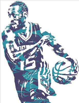 Hornet Wall Art - Mixed Media - Kemba Walker Charlotte Hornets Pixel Art 6 by Joe Hamilton