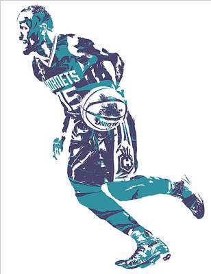 Hornet Wall Art - Mixed Media - Kemba Walker Charlotte Hornets Pixel Art 7 by Joe Hamilton