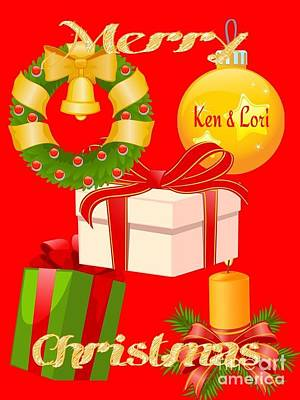 Ken And Lori Xmas Greeting  Art Print
