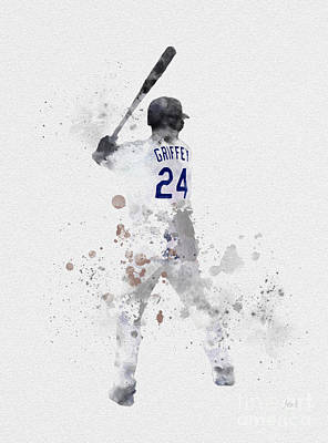 Ken Griffey Jr Art Print by Rebecca Jenkins