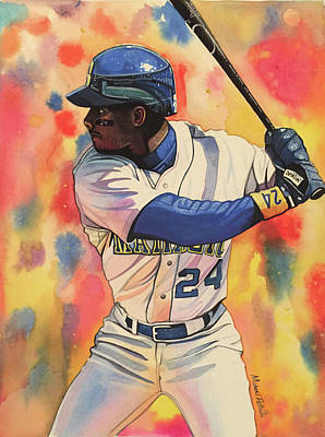 Ken Griffey Jr. Seattle Mariners Art Print by Michael Pattison