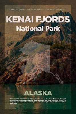 Travel Mixed Media - Kenai Fjords National Park In Alaska Travel Poster Series Of National Parks Number 35 by Design Turnpike