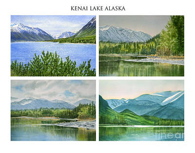 Early Spring Painting - Kenai Lake Alaska Poster With Title by Sharon Freeman
