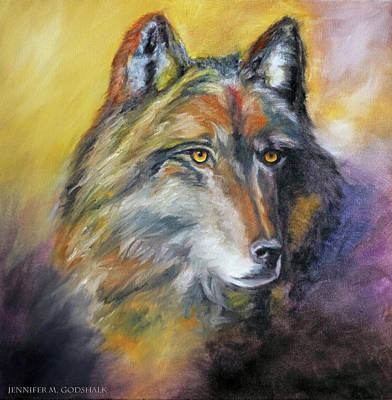 Painting - Kenai Wolf Portrait by Jennifer Godshalk